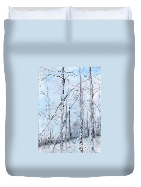 Trees In Winter Snow Duvet Cover