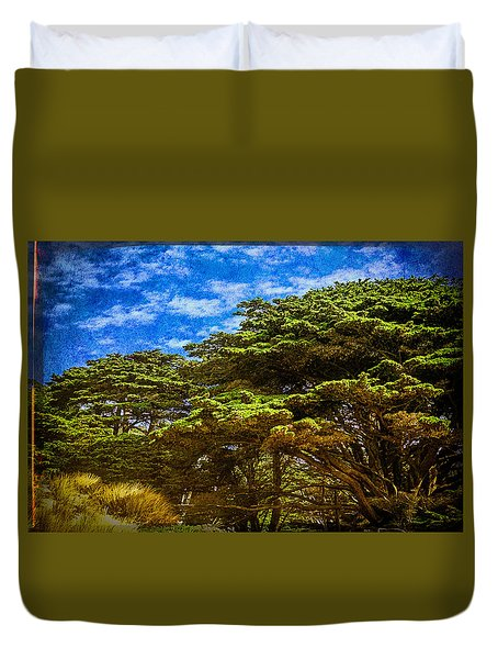 Trees On An Oregon Beach Duvet Cover