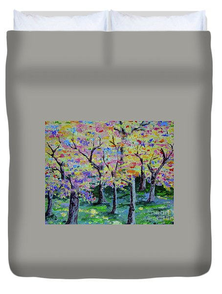 Trees On Hideaway Ct Duvet Cover by Lisa Rose Musselwhite
