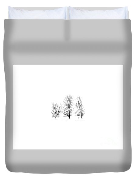 Duvet Cover featuring the photograph Trees On White by Mim White