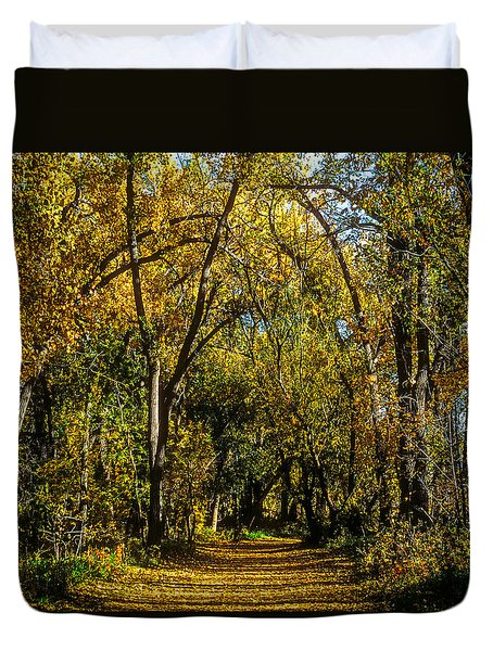 Trees Over A Path Through The Woods In Fall Color Duvet Cover