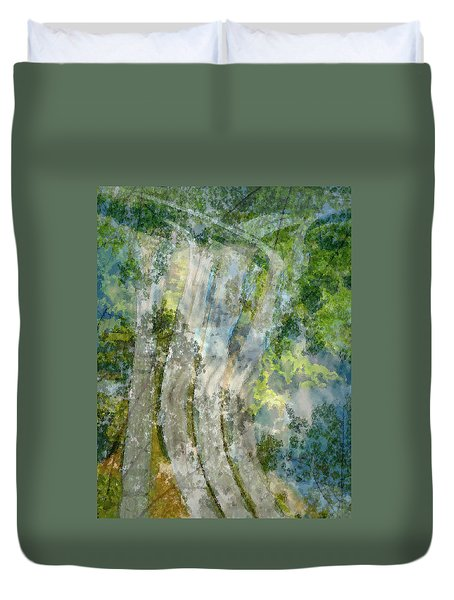Trees Over Highway Duvet Cover