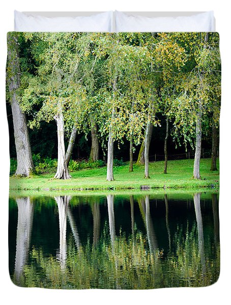 Trees Reflected In Water Duvet Cover