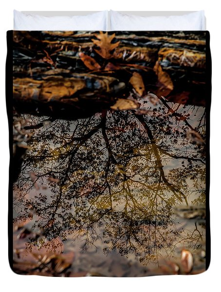 Duvet Cover featuring the photograph Tree's Reflection by Iris Greenwell
