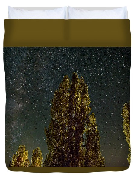 Trees Under The Milky Way On A Starry Night Duvet Cover