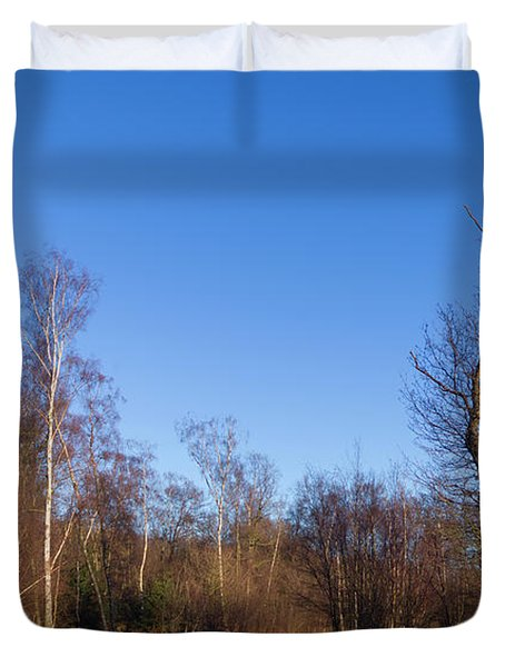 Trees With The Moon Duvet Cover