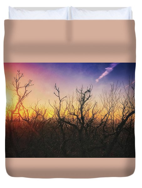 Duvet Cover featuring the photograph Treetop Silhouette - Sunset At Lapham Peak #1 by Jennifer Rondinelli Reilly - Fine Art Photography