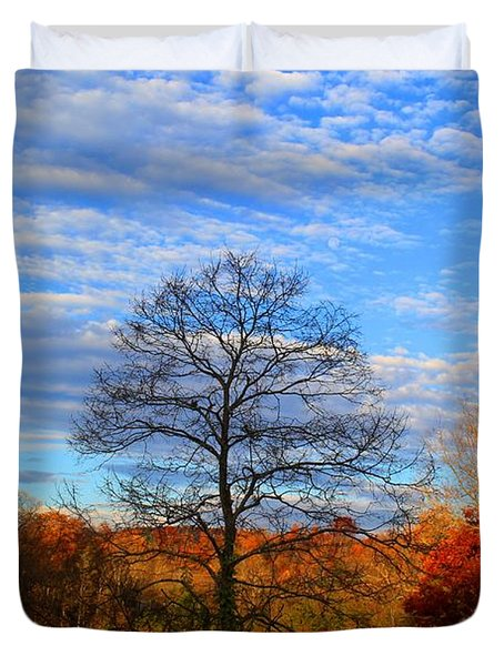 Duvet Cover featuring the photograph Treetops Sunrise by Kathryn Meyer