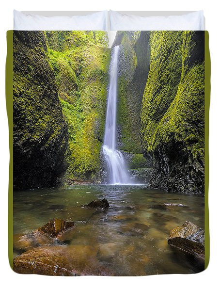 Trek To Lower Oneonta Falls Duvet Cover by David Gn