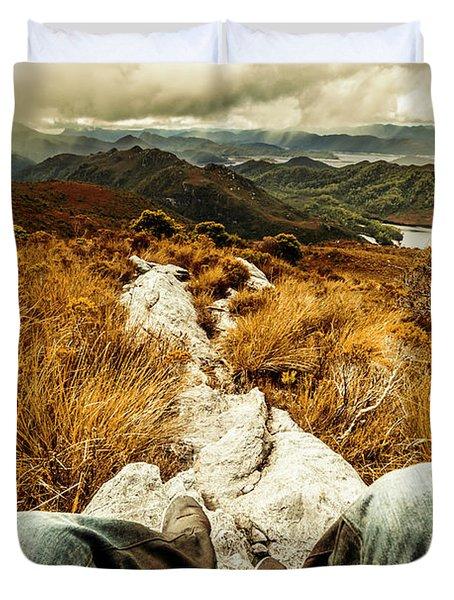 Trekking Tasmanian Mountains Duvet Cover