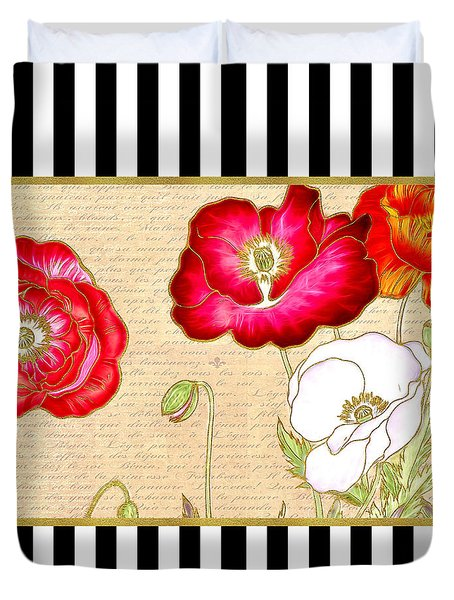 Duvet Cover featuring the digital art Trendy Red Poppy Floral Black And White Stripes by Tracie Kaska