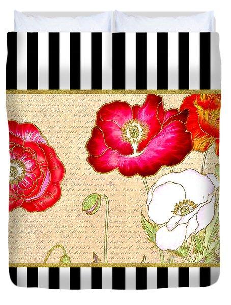 Trendy Red Poppy Floral Black And White Stripes Duvet Cover
