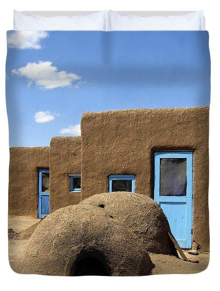 Tres Casitas Taos Pueblo Duvet Cover