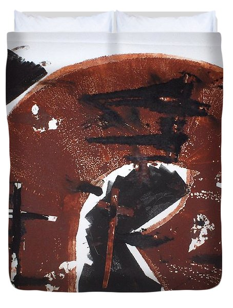 Duvet Cover featuring the mixed media Tres Cruces by Erika Chamberlin