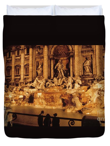 Duvet Cover featuring the photograph Trevi At Night by Donald Paczynski