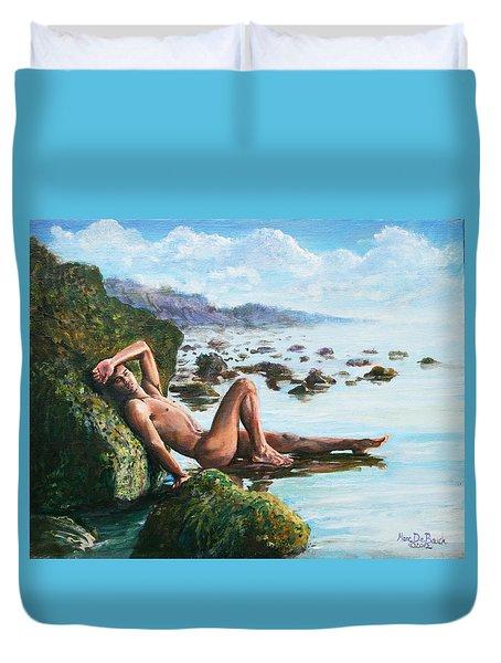 Trevor On The Beach Duvet Cover