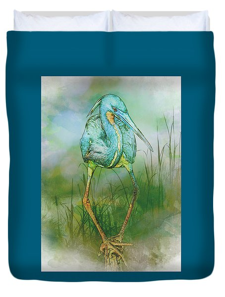 Tri-colored Heron Balancing Act - Colorized Duvet Cover