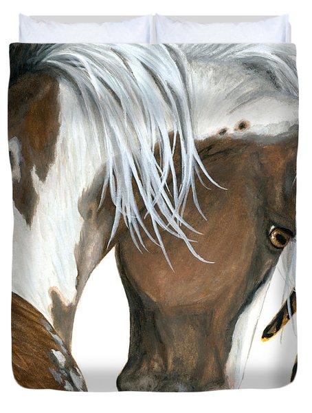 Tri Colored Pinto Horse Duvet Cover