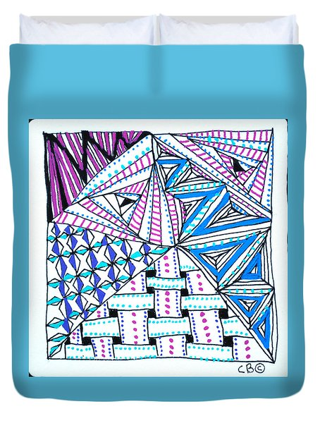 Duvet Cover featuring the drawing Triangle Tangle by Carole Brecht