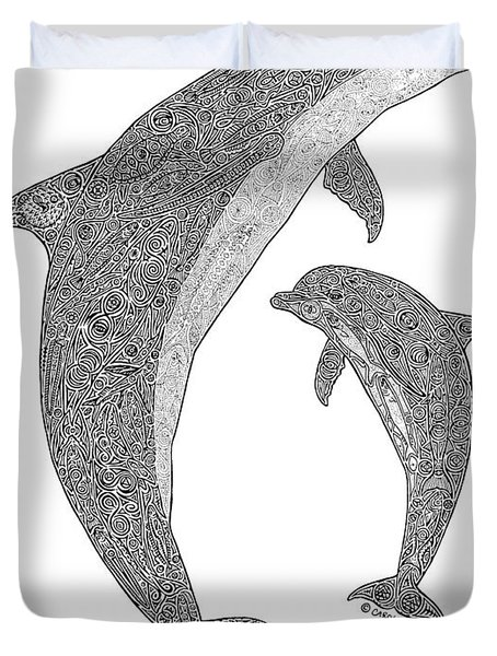 Tribal Bottle Nose Dolphin And Calf Duvet Cover by Carol Lynne