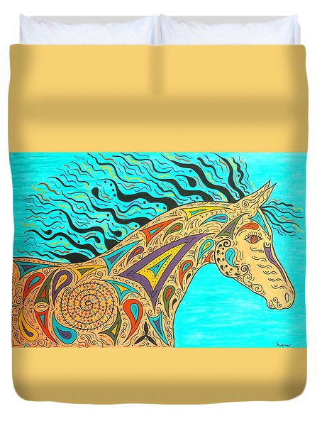 Tribal Carnival Spirit Horse Duvet Cover