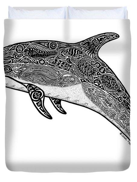 Tribal Dolphin Duvet Cover by Carol Lynne