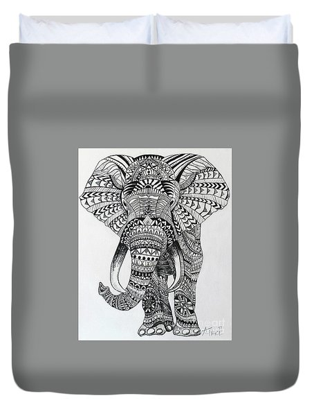Duvet Cover featuring the painting Tribal Elephant by Ashley Price