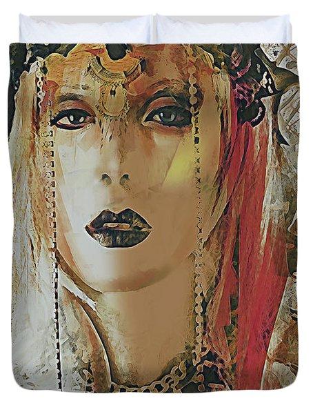 Tribal Rust Portrait Duvet Cover