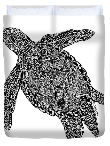 Tribal Turtle I Duvet Cover by Carol Lynne