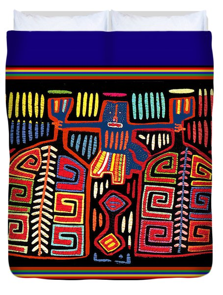 Tribal Woman Fanning Stove Duvet Cover