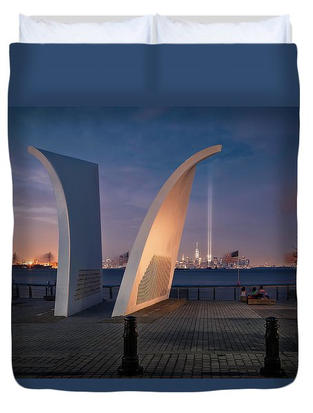 Duvet Cover featuring the photograph Tribute In Light by Eduard Moldoveanu