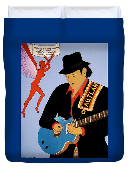 Duvet Cover featuring the painting Tribute To Carlos by Stephanie Moore