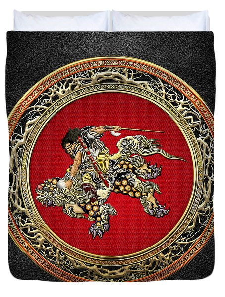 Tribute To Hokusai - Shoki Riding Lion  Duvet Cover
