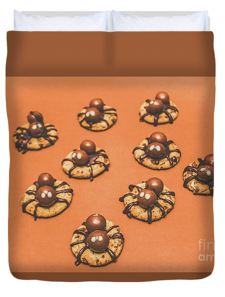 Trick Or Treat Halloween Spider Biscuits Duvet Cover