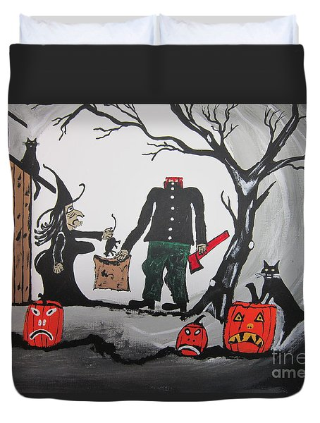 Duvet Cover featuring the painting Trick Or Treat. by Jeffrey Koss