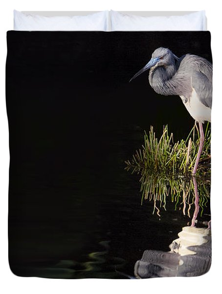 Duvet Cover featuring the photograph Tricolor Heron Reflection by Don Durfee