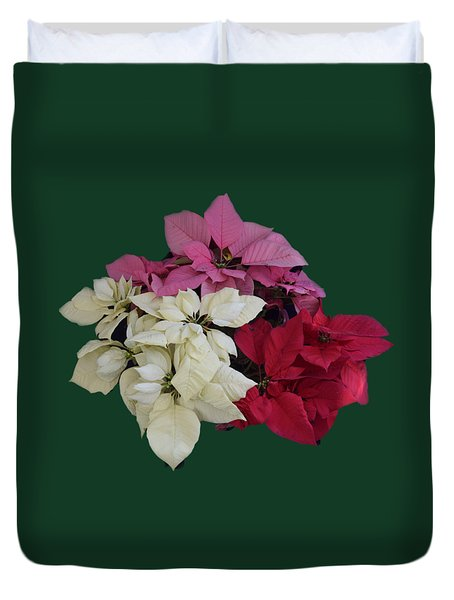 Tricolor Poinsettias Transparent Background   Duvet Cover