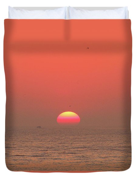 Duvet Cover featuring the photograph Tricolor Sunrise by Robert Banach