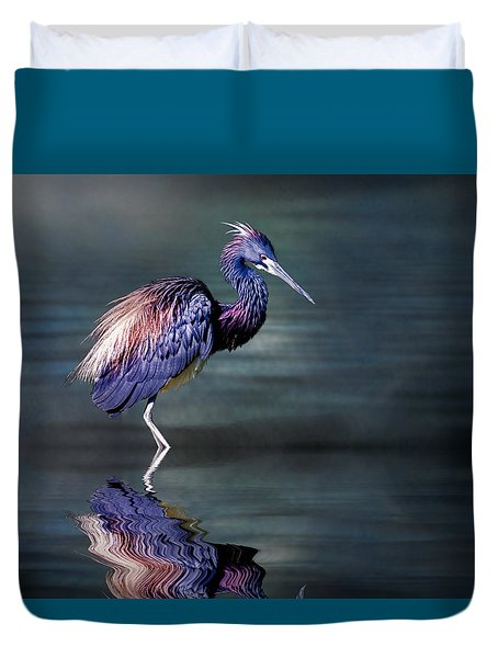 Duvet Cover featuring the photograph Tricolored Heron In Breeding Plumage by Brian Tarr