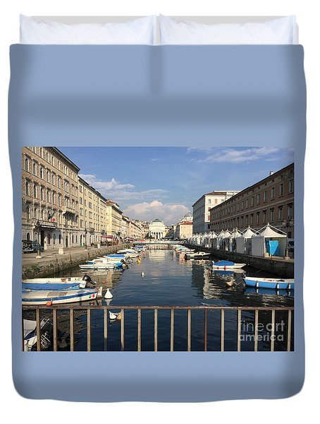 Trieste Grand Canal Duvet Cover