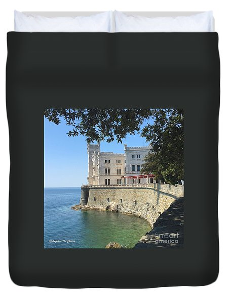 Trieste- Miramare Castle Duvet Cover by Italian Art