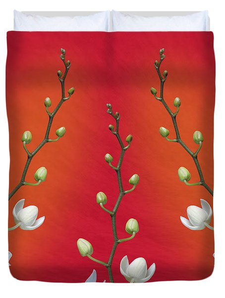 Trifecta Of Orchids Duvet Cover by Tom Mc Nemar