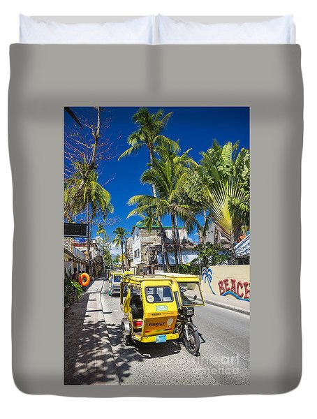 Trike Moto Taxis On Boracay Island Main Road In Philippines Duvet Cover