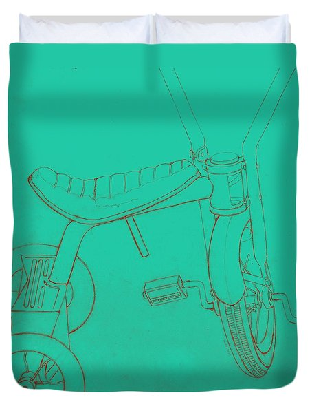 Trike On Turquoise Duvet Cover