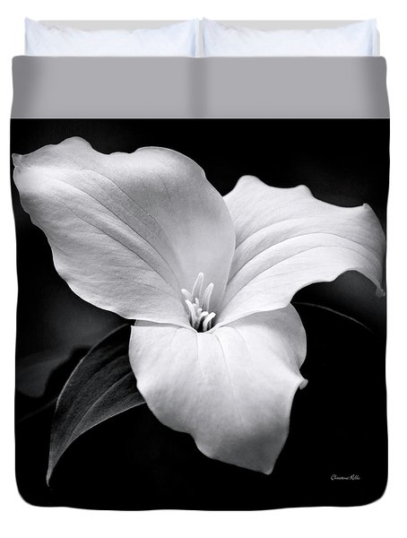 Duvet Cover featuring the photograph Trillium Black And White by Christina Rollo