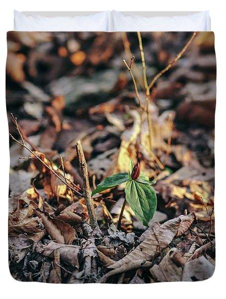 Trillium Blooming In Leaves On Forrest Floor Duvet Cover