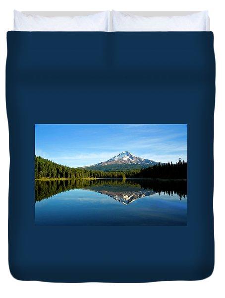 Trillium Lake Mt Hood Fall Duvet Cover