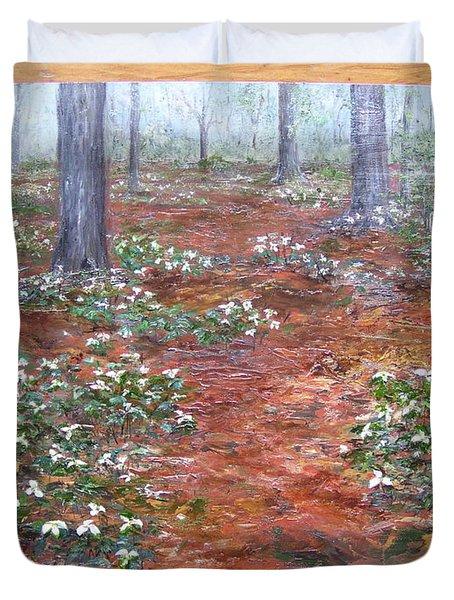 Trilliums After The Rain Duvet Cover