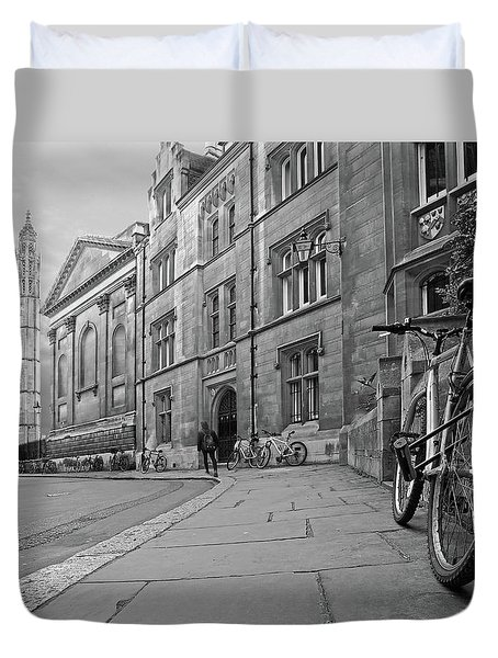 Duvet Cover featuring the photograph Trinity Lane Clare College Great Hall In Black And White by Gill Billington