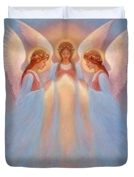 Trinity Of Angels Duvet Cover by Jack Shalatain